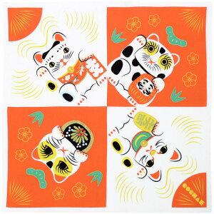 風呂敷 福コチャエ つつみ絵 招き猫帯付 コウハク 48cm 小風呂敷ペンテックス 刺繍名入れ対応 無料ギフトラッピング対応 猫 縁起柄 綿100% 小ぶろしき のし袋 お弁当包み 内祝 結婚祝 お祝い