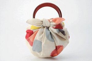 風呂敷 いちごバッグ 二巾モダンガールふろしき 和洋水玉(ベージュ) ちょっとしたお買い物のお供やプレゼントに内祝 結婚祝 お祝い 長寿 引出物