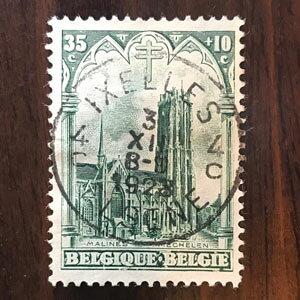 【送料無料】大聖堂 1928年 昭和3年 2枚セット ベルギー切手