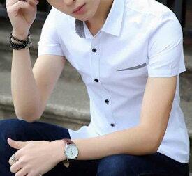 Yシャツ メンズ 半袖 カジュアル 春 大きいサイズ 夏 白 カットソー 黒 ボタン シャツ トップス ブラック ワイシャツ 予約商品