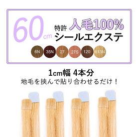 4本分(1cm幅8ピース) ライトカラー全6色シールエクステ 60cm 髪質長持ち人毛100% 前髪 メッシュ【特許商品】