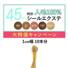 45cm 10本分(1cm幅20枚) ライトカラー 特許シールエクステンション レミー 人毛100% コテ・アイロンOK つけ毛 えくすて