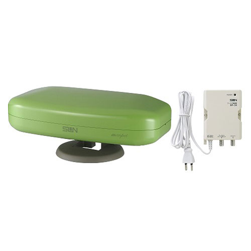 サン電子 室内外兼用アンテナ ブースタ内蔵 アップルグリーン SDA-5-2-AG