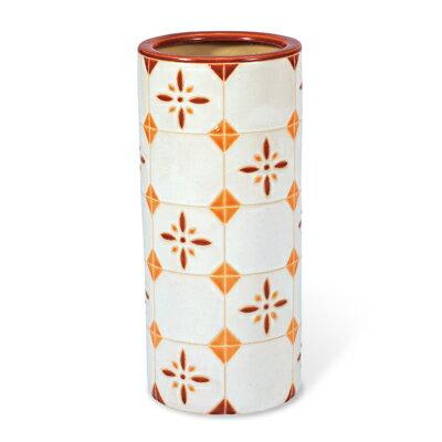 キシマ kishima CERAMIC アンブレラスタンド 陶器 手描き絵付け オレンジ KH-60422