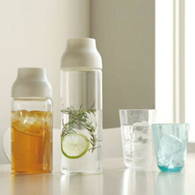【あす楽】ピッチャー 水差し 冷水筒 麦茶ポット アイス コーヒーポット おしゃれ 耐熱 ガラス ウォーターピッチャー 1L ホワイト 冷蔵 kinto キントー