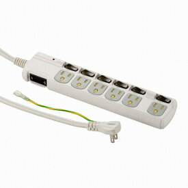 オーム電機 3P多機能タップ 6個口 1.8m HS-T1259W