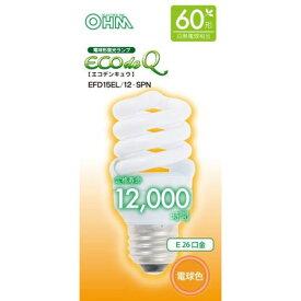 オーム電機 電球形蛍光灯 スパイラル形 口金E26 60W形相当 電球色 EFD15EL/12-SPN