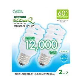 オーム電機 電球形蛍光灯 スパイラル形 口金E26 60W形相当 昼光色 2個入り EFD15ED/12-SPN-2P