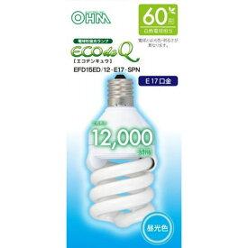 オーム電機 電球形蛍光灯 スパイラル形 口金E17 60W形相当 昼光色 EFD15ED/12-E17SPN