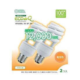 オーム電機 電球形蛍光灯 スパイラル形 口金E26 100W形相当 電球色 2個入り EFD25EL/18-SP-2P