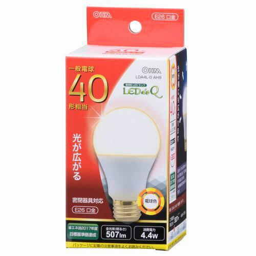オーム電機 LED電球 一般電球形 40W相当 電球色 E26 広配光 密閉器具対応 LDA4L-GAH9