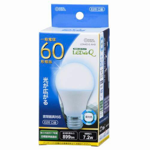 オーム電機 LED電球 一般電球形 60W相当 昼光色 E26 広配光 密閉器具対応 LDA7D-GAH9