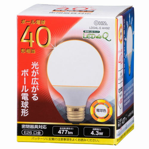 オーム電機 LED電球 ボール電球形 40形相当 密閉器具対応 広配光タイプ 電球色 LDG4L-G AH92