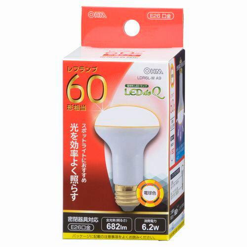 オーム電機 LED電球 レフランプ形 60W形相当 E26 電球色 密閉器具対応 LDR6L-W A9
