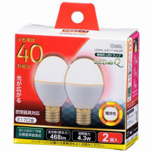 オーム電機 LED電球 ミニクリプトン形 40W相当 電球色 E17 広配光タイプ 密閉器具・断熱材施工器具対応 LDA4L-G-E17IH9-2P
