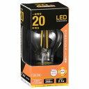 オーム電機 LED電球 フィラメント 一般電球形 E26 20W形相当 クリア 電球色 全方向 LDA2L C6
