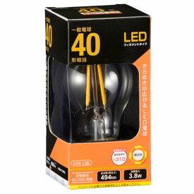 オーム電機 LEDフィラメント電球 一般電球形 口金E26 40W形相当 クリア 電球色 全方向 LDA4L C6