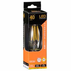 オーム電機 LEDフィラメント電球 シャンデリア形 口金E26 40W相当 クリア 電球色 全方向 LDC4L C6