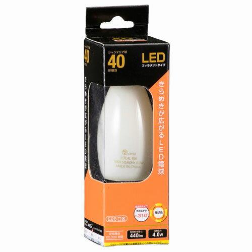 オーム電機 LEDフィラメント電球 シャンデリア形 口金E26 40W相当 ホワイト 電球色 全方向 LDC4L W6
