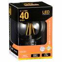 オーム電機 LEDフィラメント電球 ボール電球形 口金E26 40W相当 クリア 電球色 全方向 LDG3L C6