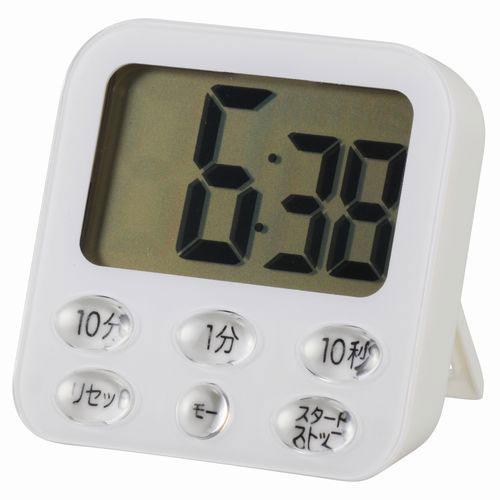オーム電機 ガラストップ冷蔵庫対応 吸盤付き 時計付き大画面デジタルタイマー ホワイト COK-T140-W
