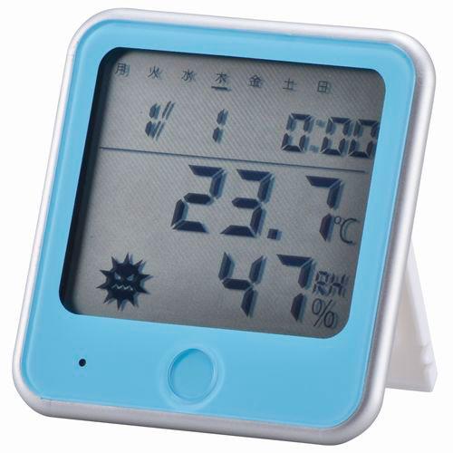 オーム電機 温湿度計 インフルエンザ熱中症計 ブルー TEM-300-A