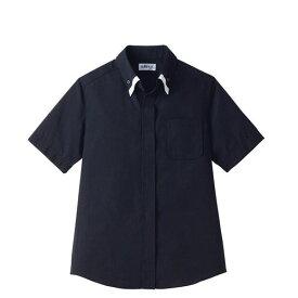レイヤードBD衿シャツ 半袖 ブラック×ホワイト 黒×白 LL ET-1314 SSY3710 【サンペックスイスト 業務用 ユニフォーム 制服 ボタンダウン】
