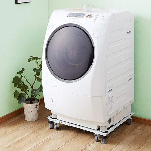 【あす楽】【期間限定送料無料】平安伸銅工業 角パイプ洗濯機台 ホワイト DSW-151【洗濯機 置き台 キャスター付き】