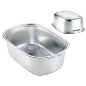新越金網 18-8 小判型 洗い桶 足付 4389310