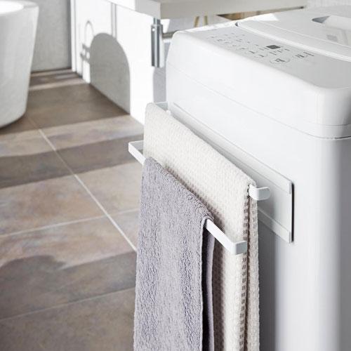 山崎実業 洗濯機横マグネットタオルハンガー2段 プレート ホワイト 2958