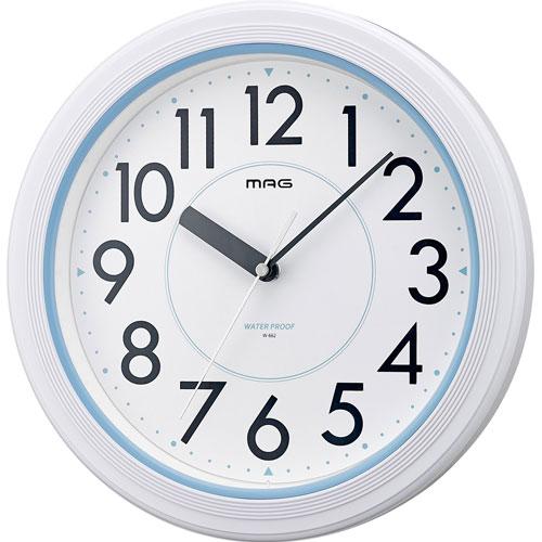 ウォールクロック ノア MAG マグ アクアガード W-662 ホワイト 掛時計 防水防塵 水で洗えて便利