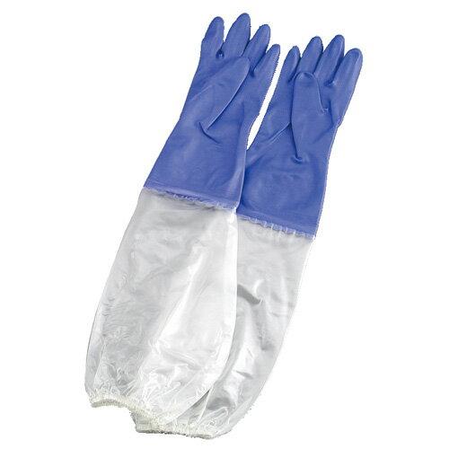 シルキー 厚手 手袋 腕カバー付 L バイオレット 5835710