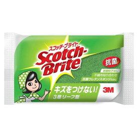 3M スリーエム スコッチブライト リーフ型抗菌ウレタンスポンジ グリーン