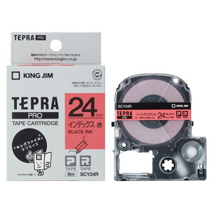 キングジム KING JIM テプラ PROテープ インデックスラベル 赤/黒文字 SCY24R