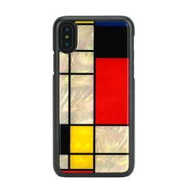 【お試し送料無料】ikins アイキンス iPhone 5.8/iPhone X 天然貝ケース Mondrian ブラックフレーム I10980i8【smtb-u】