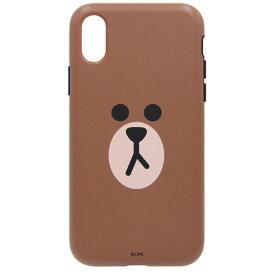 【お試し送料無料】LINE FRIENDS ラインフレンズ iPhone 6.5/iPhone XS Max DUAL GUARD フェイス ブラウン KCL-DFA009【smtb-u】