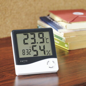 PATTO パット スクエア温湿度計 PT-02 温度計 湿度計 日時表示 時報 アラーム 時計