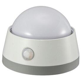 オーム電機 LEDプッシュライト センサー 明暗+人感 白色LED 電池式 NIT-BLA6JD-WN