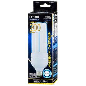 オーム電機 LED電球 D形 E26 200W相当 昼光色 全方向タイプ 発光管露出形 LDF30D-G-WK