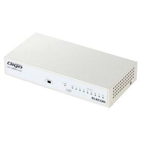 エレコム ELECOM スイッチングハブ 1000BASE-T対応 8ポート ファンレス メタル筐体 ホワイト EHC-G08MN2-HJW