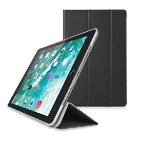 エレコム ELECOM iPad (第6世代) ソフトレザーケース 薄型フラップカバー 背面クリア 2アングルスタンド ブラック TB-A18RWVBK