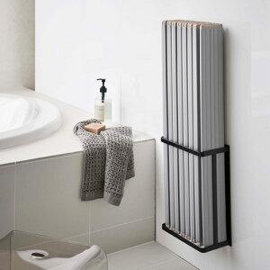 山崎実業 マグネットバスルーム折り畳み風呂蓋ホルダー タワー ブラック 4861