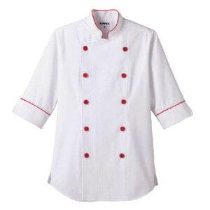 【送料無料】ショップコート ホワイト×レッド 白×赤 LL ET-1139 SKC5204 【サーヴォ サンペックスイスト 業務用 ユニフォーム 制服】