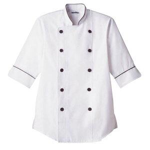 【送料無料】ショップコート ホワイト×ブラウン 白×茶 M ET-1144 SKC5402 【サーヴォ サンペックスイスト 業務用 ユニフォーム 制服】