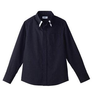 レイヤードBD衿シャツ 長袖 ブラック×ホワイト 黒×白 M ET-1312 SSY3606 【サーヴォ サンペックスイスト 業務用 ユニフォーム 制服 ボタンダウン】