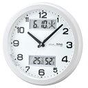 ノア精密 温度湿度計付スタンダードクロック MAG ダブルスライト パールホワイト W-630 PW