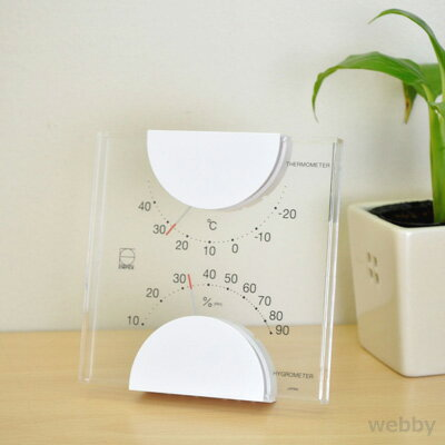 【ラッピング対象】EMPEX エンペックス エルム温・湿度計 ホワイト LV-4901