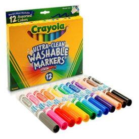 Crayola クレヨラ Washable Broad Line Markers 12 水でおとせる ビッグカラーリングマーカー 12色 587812