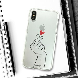 【送料無料】ポスト投函 Dparks ディーパークス iPhone 5.8/iPhone X ソフトクリアケース 指ハート DS10381i8