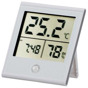 オーム電機 時計付温湿度計 白 TEM-210-W